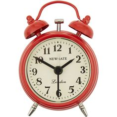 Newgate Clocks Red Covent Garden Metal Alarm Clock (459.010 VND) ❤ liked on Polyvore featuring home, home decor, clocks, fillers, decor, red, backgrounds, battery alarm clock, retro clock and red metal clock