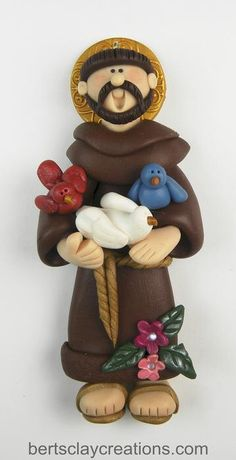 Ornament St Francis by BertsClayCreations on Etsy Polymer Clay People, Fimo Clay, Polymer Clay Projects, Polymer Clay Creations, Clay Crafts, Arts And Crafts, Polymer Clay Christmas, Cute Clay, Clay Ornaments