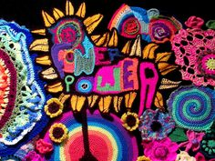50 years of flower power - a freeform crochet and knit artwork: Follow up to the showing in Melbourne