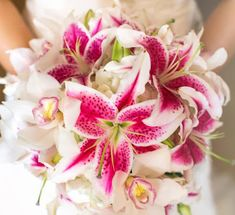 Hawaii Wedding Flowers: Cymbidium Orchid and Stargazer Lily Bouquet