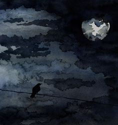 Moonlit Raven Art Print