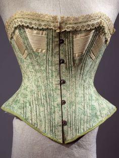 "historicalcorsets:  "" Printed cotton corset, 1880-1890, Costume Gallery of Palazzo Pitti.  """