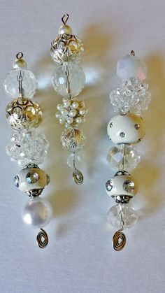 Sparkling White and Silver Beaded Icicle Ornaments by TreeFrost