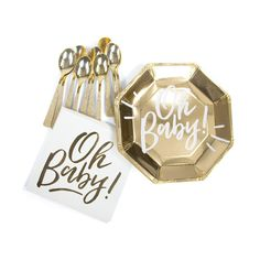 Gold 'Oh Baby' Dinner Plate, Tableware, Jamboree Party Box, Jamboree Baby Shower Plates, Deco Baby Shower, Baby Plates, Baby Shower Wishes, Baby Shower Desserts, Boy Baby Shower Themes, Gender Neutral Baby Shower, Baby Boy Shower, Baby Shower Gifts