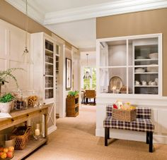 Beige wall, off white cabinets and trims, natural fiber floor. Off White Cabinets, Bathroom Store, Pantry Laundry Room, Cozy House, Home And Living, Living Room, Cool Kitchens, Ideal Home, Kitchen Dining