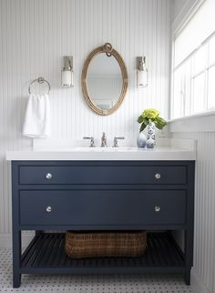 50 Fancy Bathroom Design Ideas With Classic Elements To Try - Bathroom designs are as varied as the people who create them. With modern technology and brilliant minds available at the seat of your computer, any i. Beach House Bathroom, Beach House Decor, Home Decor, Rental Bathroom, Beach House Kitchens, Basement Bathroom, Bathroom Cabinets, Bathroom Vanities, Bathroom Storage