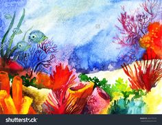 Resultado de imagem para watercolor painting coral reef