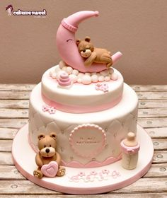 Teddy on the moon Christening cake for a girl with sweet teddy bears.
