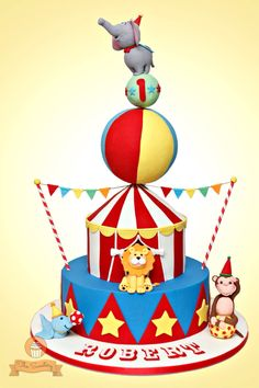 Fun and colorful Circus themed birthday cake! www.facebook.com/thesweeteryph ❤️Diana