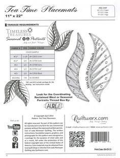 Judy Niemeyer Tea Time Leaf Placemats ~ Paper Piecing Quilt Pattern ~ Quiltworx