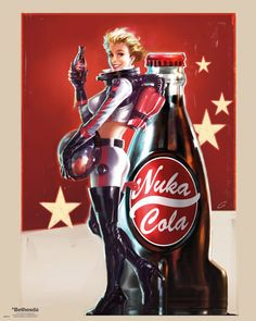 View an image titled 'Nuka Cola Pin-up Poster Art' in our Fallout 4 art gallery featuring official character designs, concept art, and promo pictures. Fallout Art, Fallout Nuka Cola, Fallout Posters, Gaming Posters, Pin Up Posters, Fallout New Vegas, Fallout Tattoo, Art Posters, Fallout 4 Cait