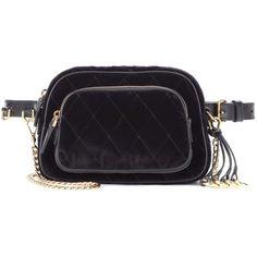 Prada Velvet Belt Bag (€960) ❤ liked on Polyvore featuring bags, black, prada bags and prada