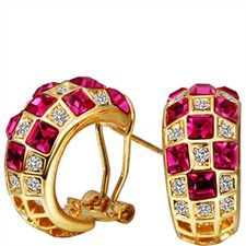 Cherry Checkerboard Swarovski Crystal-Earrings
