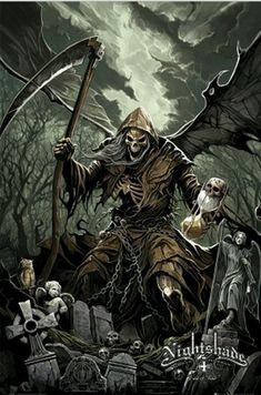 Grim Reaper - Death you're a mother fucker. I hate you. Grim Reaper Art, Grim Reaper Tattoo, Don't Fear The Reaper, Grim Reaper Images, Dark Fantasy Art, Dark Art, Arte Obscura, Dark Angels, Fantasy Creatures