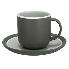 Buy John Lewis Puritan Curved Espresso Cup & Saucer, Grey Online at johnlewis.com