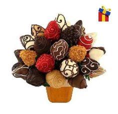 Arreglo Frutal Mediano de Chocolate y Fresa