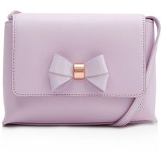 Ted Baker Angiee Bow Crossbody (2,735 MXN) ❤ liked on Polyvore featuring bags, handbags, shoulder bags, lilac, bow crossbody purse, ted baker, ted baker crossbody, bow handbag and purple purse