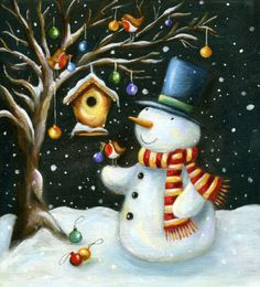 Ileana Oakley - snowman robin tree snow.jpg