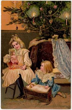 Vintage Christmas Card ~ Little Girls Playing by the Tree ~ Peach Background