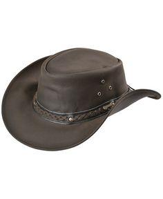 489858a47c9 Chocolate Wagga Wagga UPF50 Sun Protection Leather Hat Leather Hats