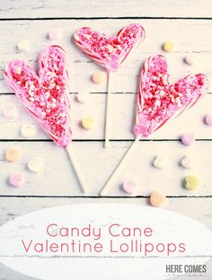Use leftover candy canes to make these Candy Cane Valentine Lollipops! I like how this looks