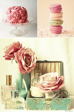Beautiful cake, rose inspired and macaroons... I can only imagine how they taste!