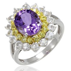 LenYa offers an item of pure quality and excellence! This ring has a contemporary design and has some of the finest quality Amethysts, Yellow Sapphire and White Topaz which are arranged in a gorgeous display colors and like. Get this ring today before we run out of these!