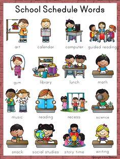 School Schedule Words for the writing center ~ Back to School Social Skills Activities, Preschool Learning Activities, Preschool Curriculum, Teaching Kids, Kids Learning, Kindergarten, School Schedule Printable, Classroom Schedule, Kids Schedule