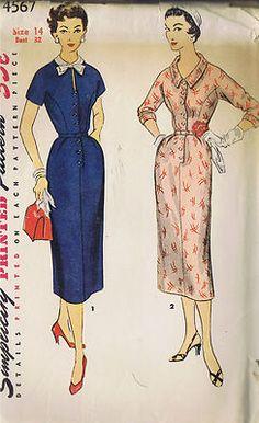 Vintage 1 PC Dress 50s Sewing Pattern 4567 Simplicity Sz 14 Bust 32 Hip 35 Uncut   eBay