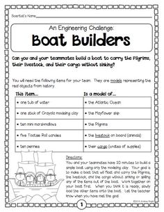 """Boat Builders"" ... An engineering challenge from the ""Thanksgiving Science"" pack ... 5 standards-based, collaborative, hands-on science activities to help you celebrate the holiday with your students. (24 pages, $) #Thanksgiving:"