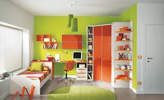 Colorful Children Bedroom for Creative Children's Growing Experience : Cute Kids Bedroom With Green Wall And Orange Furniture
