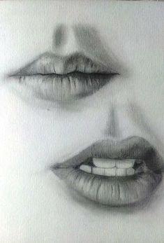 Drawing Tips lips drawing Art Drawings Sketches Simple, Pencil Art Drawings, Realistic Drawings, Drawing Faces, Drawing Portraits, Art Faces, Drawing With Pencil, Portrait Sketches, Easy Drawings