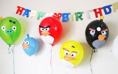 angry birds party ideas/ I doubt I'll ever do an angry bird party but I think these balloons look so funny and cute :) @Becca Allum