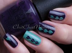 """marbled hearts"" tutorial: OPI colors Viking in Vinder Vonderland, My Dog Sled is a Hybrid"