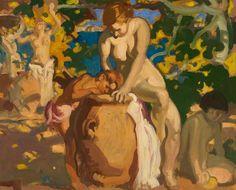 Brangwyn, Frank, (1867-1956), Nude Figures with Jars, Oil