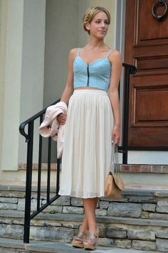 denim crop top + high waisted skirt