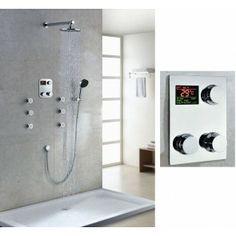 Thermostatic Digital Display Bathroom Rainfall Shower Set With Handheld