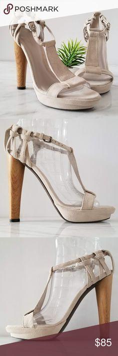 61200224429 MAX AZRIA Jules Open Toe Sandal TStrap Suede Heels MAX AZRIA Open Toe  Sandals Soft Suede