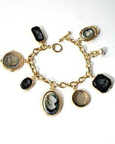 Slate, Jet, and Black Diamond - Portia Slate Intaglio Charm Bracelet in Gold