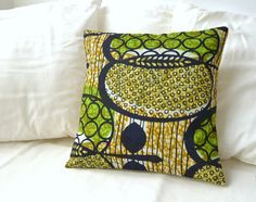 African Print Pillow Cover - Green, black, gold on Etsy, £16.26