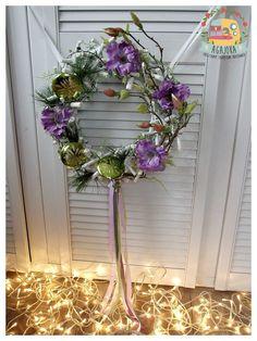 Modny fiolet z zielenią w parze - czemu nie :) Wianek świąteczny na drzwi