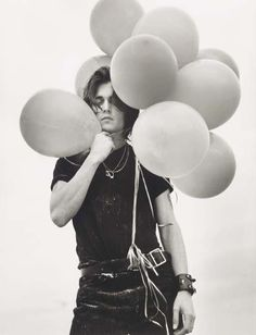 Johnny Depp with balloons