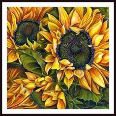 Debra Bucci 'Brilliant Sunflowers' Framed Art - 17813837 - Overstock - The Best Prices on Framed Prints - Mobile