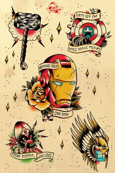 The Avengers as traditional American tattoos    I personally would love to get Mjölnir, - Visit to grab an amazing super hero shirt now on sale!
