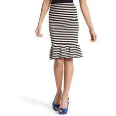 Striped Ponte Flounce Skirt ($50) found on Polyvore