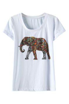 ROMWE | ROMWE Sequined Elephant Print White T-shirt, The Latest Street Fashion