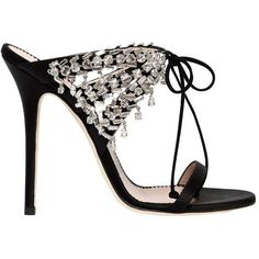 Giuseppe Zanotti Design Women 115mm Swarovski Satin Sandals ($1,330) ❤ liked on Polyvore featuring shoes, sandals, black, high heeled footwear, giuseppe zanotti, black shoes, swarovski crystal sandals and kohl shoes