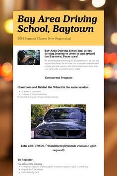Bay Area Driving School, Baytown - 2017 Classes Now Registering! Summer Classes, Driving School, Bay Area, Classroom, Student, Education, Class Room, Driving Training School, Onderwijs