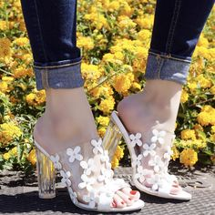 White Clear Floral Accent Peep Toe Slip On Chunky High Heels Faux Leather High Heel Pumps, Pumps Heels, Stiletto Heels, Spring Shoes, Summer Shoes, Transparent Heels, Prom Heels, Chunky High Heels, Womens High Heels