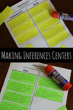 Fun way for grade, grade, or grade students to practice making inferences. Cut and paste inferencing centers that are no prep. Inference Activities, Reading Activities, Reading Skills, Teaching Reading, Guided Reading, Teaching Ideas, Reading Classes, Reading Games, Reading Books